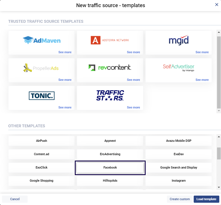 screenshot of a traffic source template selection in Voluum