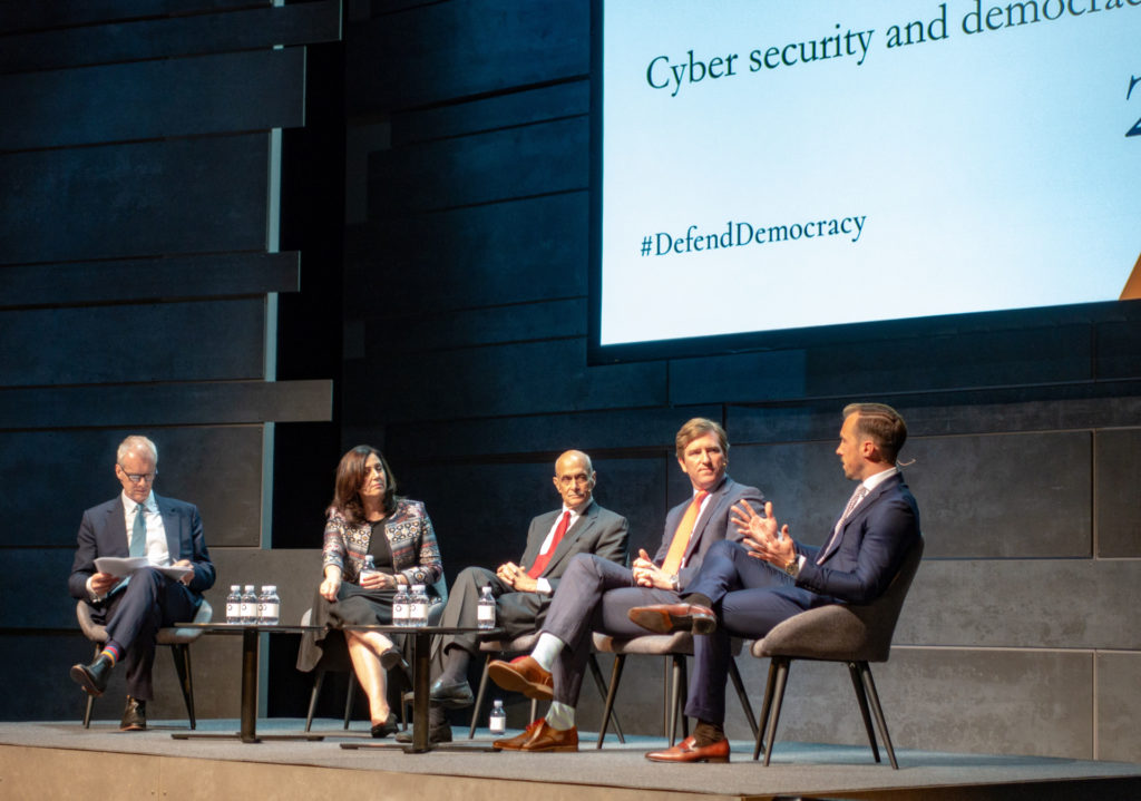 Moderator Stephen Sackur_ Joanna Shields, former UK Minister of Internet Security and Safety_ Michael Chertoff, former US Secretary of Homeland Security_ Christopher Krebs, US Undersecretary of Homeland S