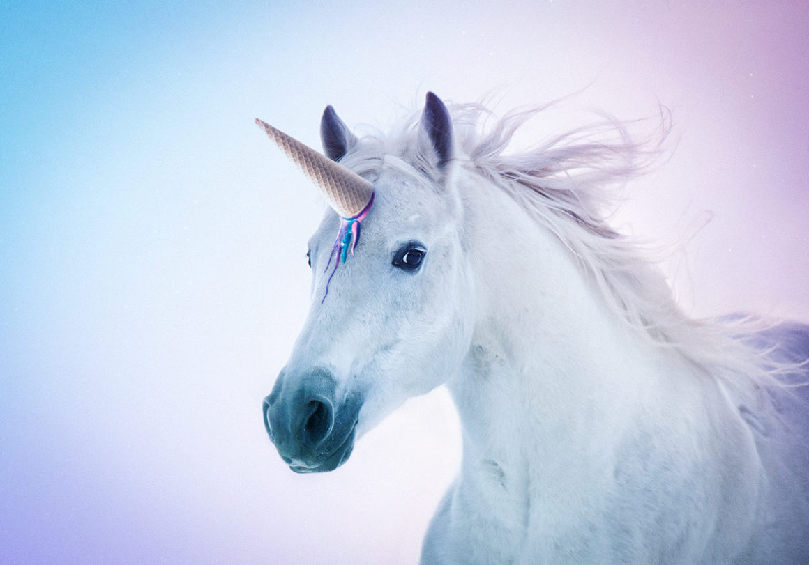 a horse pretending to be a mythical unicorn