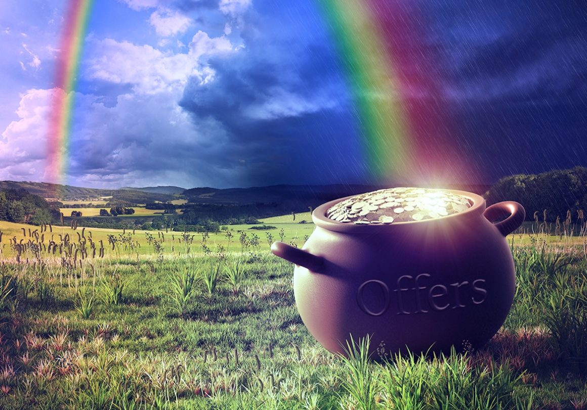 rainbow shining at a pot with gold