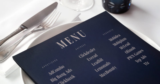 restaurant menu with names of popular affiliate networks