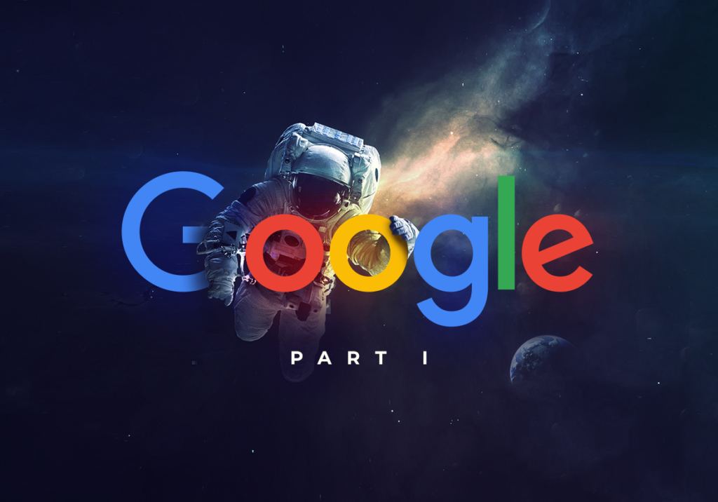 an astronaut holding the Google logo
